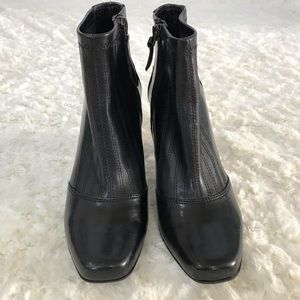 FRANCO SARTO SOFT LEATHER ANKLE BOOTS BLACK 5.5